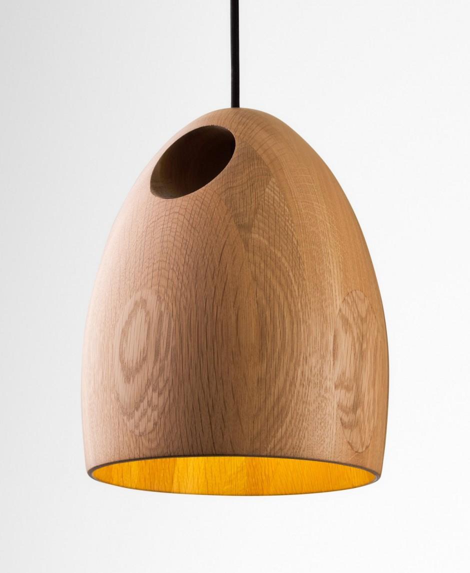 Oak Pendant Lamps by Ross Gardam