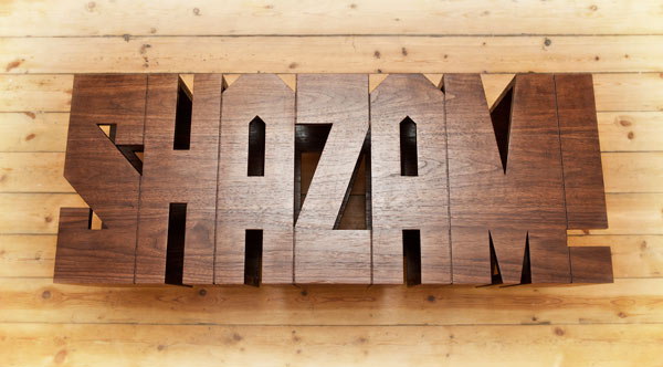 Hand Crafted Typographic Comic Book-Inspired Shazam Table