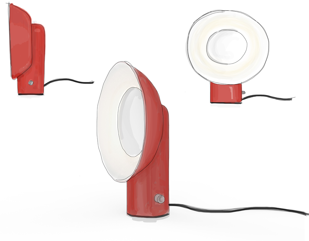 Sketch of Reverb Lamp by Alessandro Zambelli for Zava