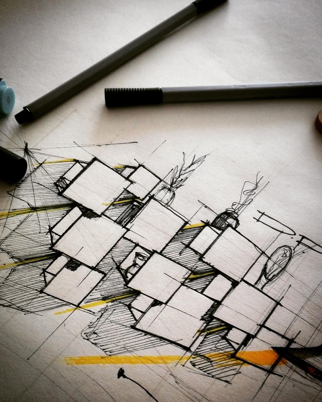 Sketch of DPI Modular Containers by Filippo Mambretti