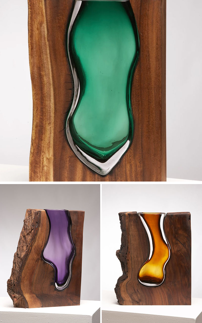 Wood and Glass Collection Sculptures by Scott Slagerman Studio, Jim Fishman