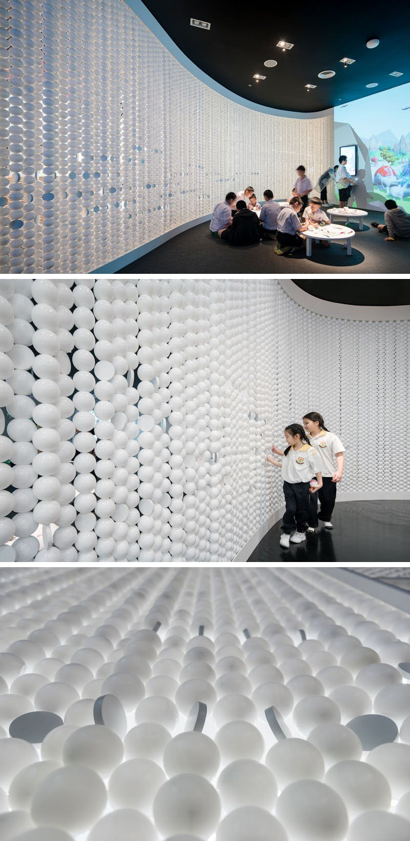 Suspended Strings of Balls for the Walls of Playground in Bangkok, Thailand