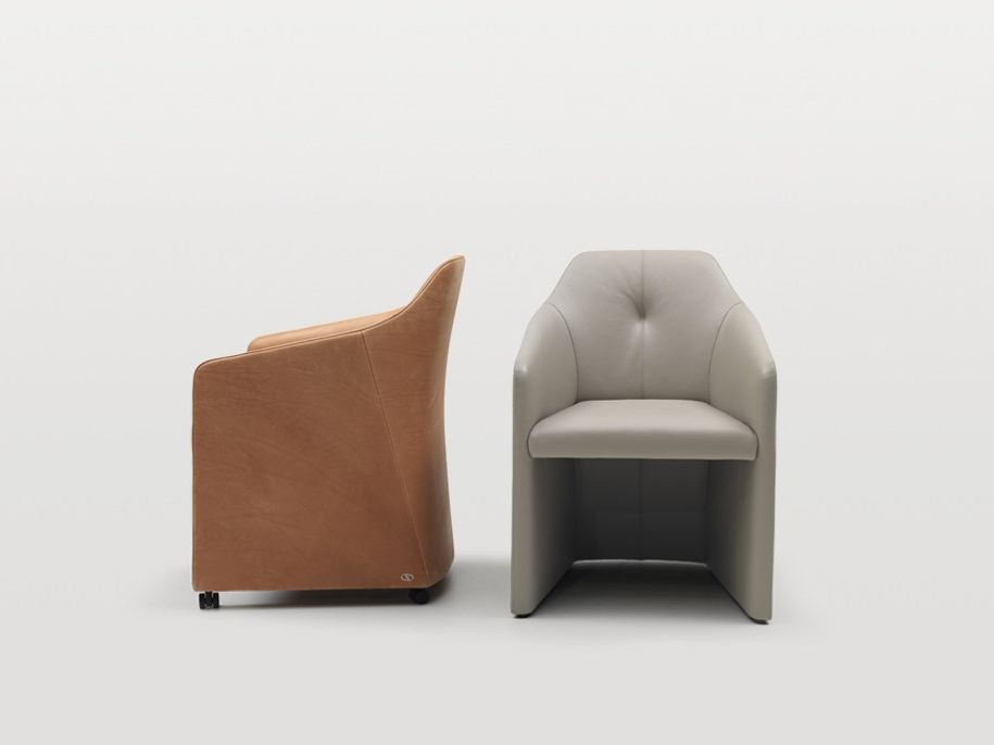 Leather Easy Chair with Armrests by Christian Werner