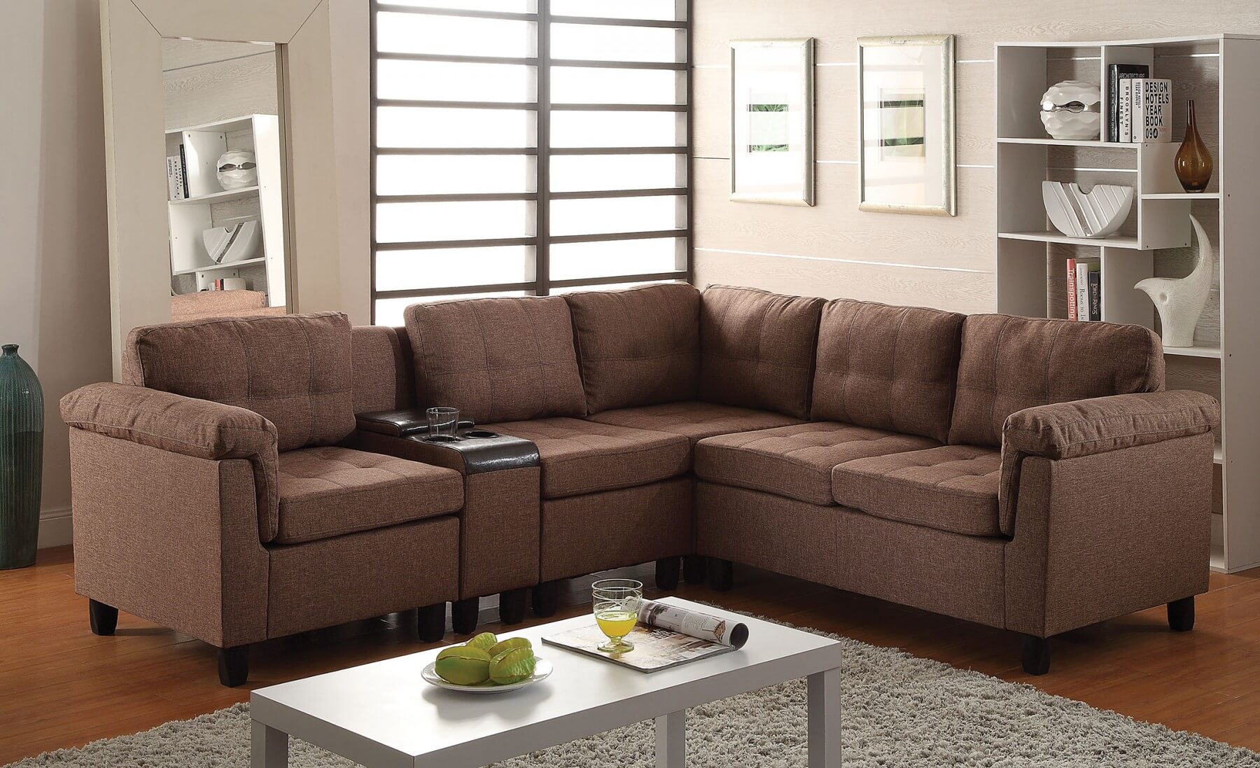 Cleavon Sectional Left Arm Facing Brown Buy Online at Best Price - SohoMod : corduroy sectional - Sectionals, Sofas & Couches