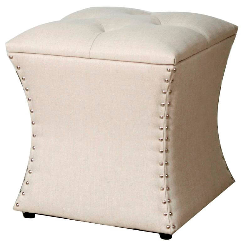 Amelia Nailhead Ottoman, Sand Buy Online At Best Price   SohoMod