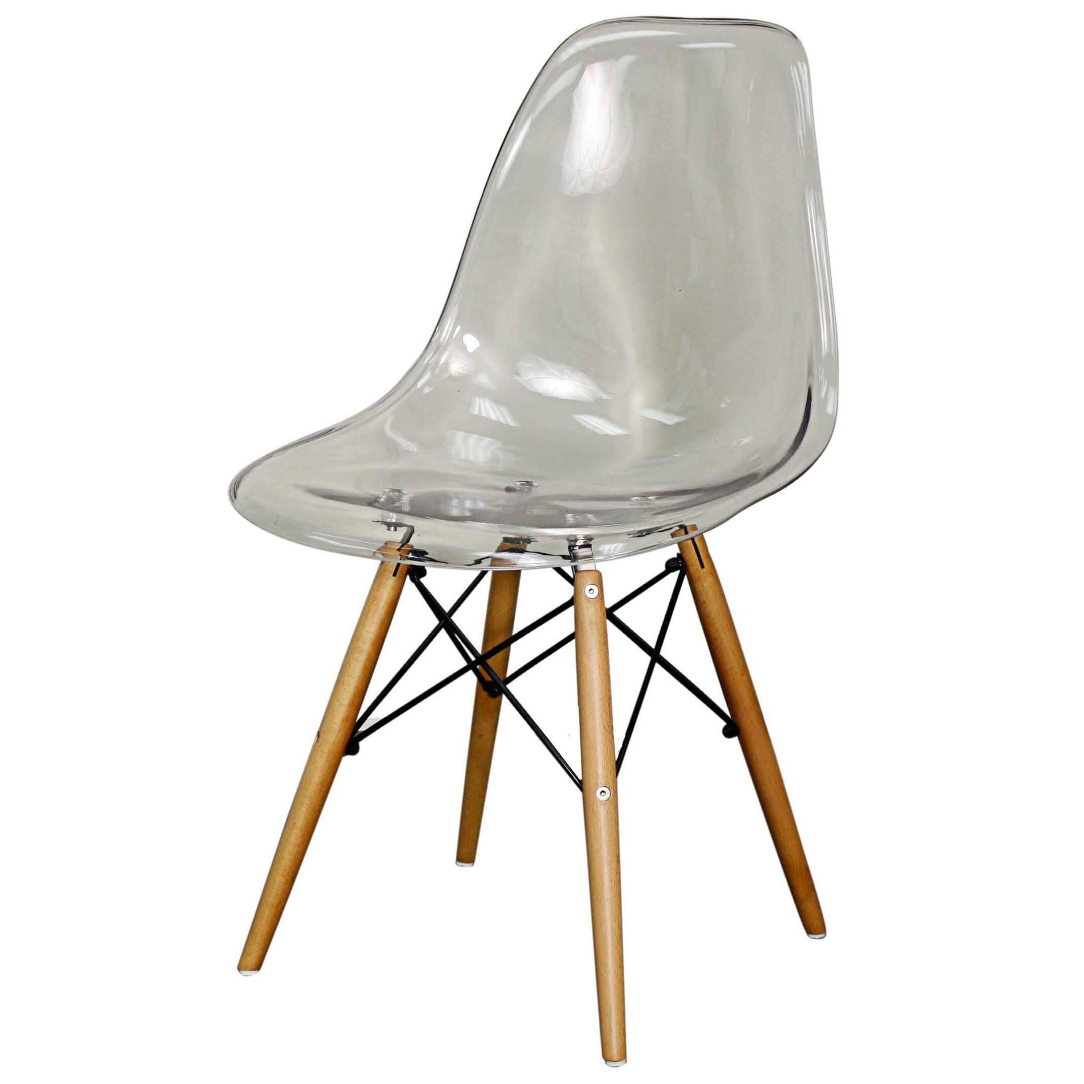 Allen Molded PC Chair Maple Dowel Legs Transparent Crystal Set