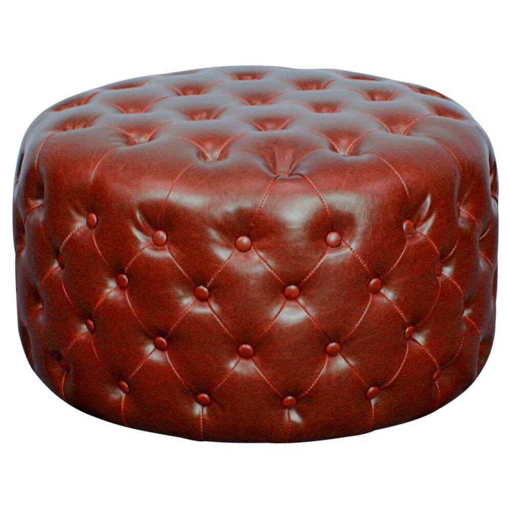 Lulu Round Bonded Leather Tufted Ottoman Vintage Red At Best