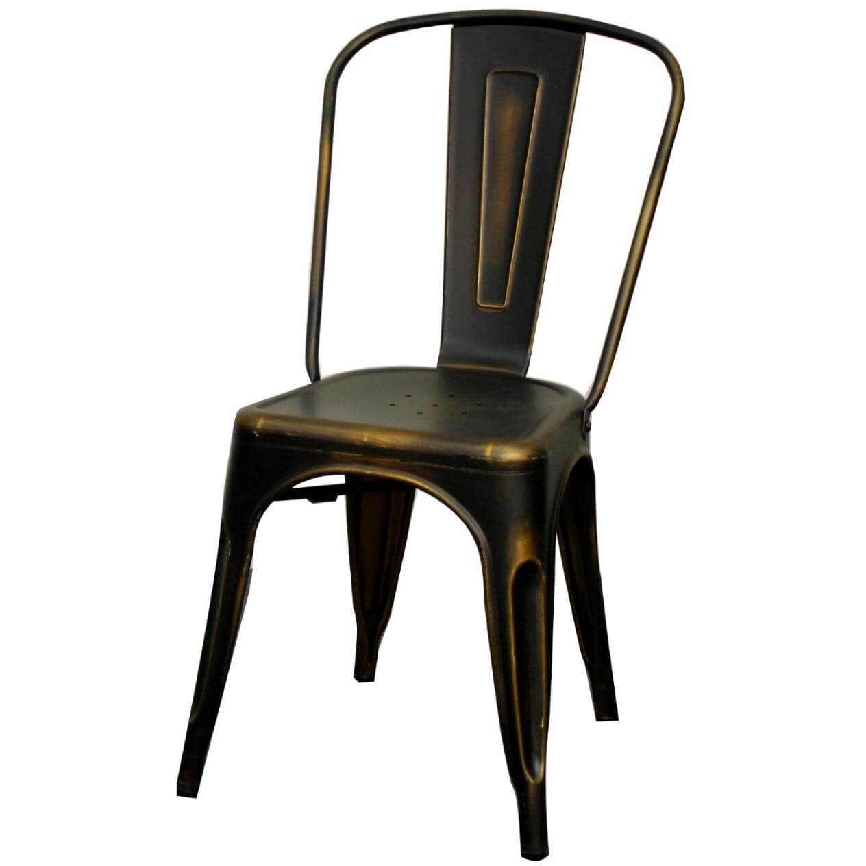 Metropolis Metal Side Chair, Distressed Copper Buy Online At Best Price