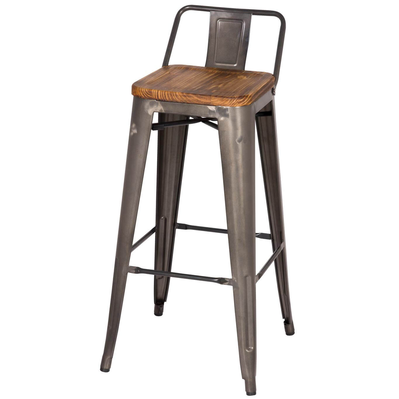 metropolis low back bar stool wood seat gunmetal set of  buy  - metropolis low back bar stool wood seat gunmetal set of  buy online atbest price  sohomod