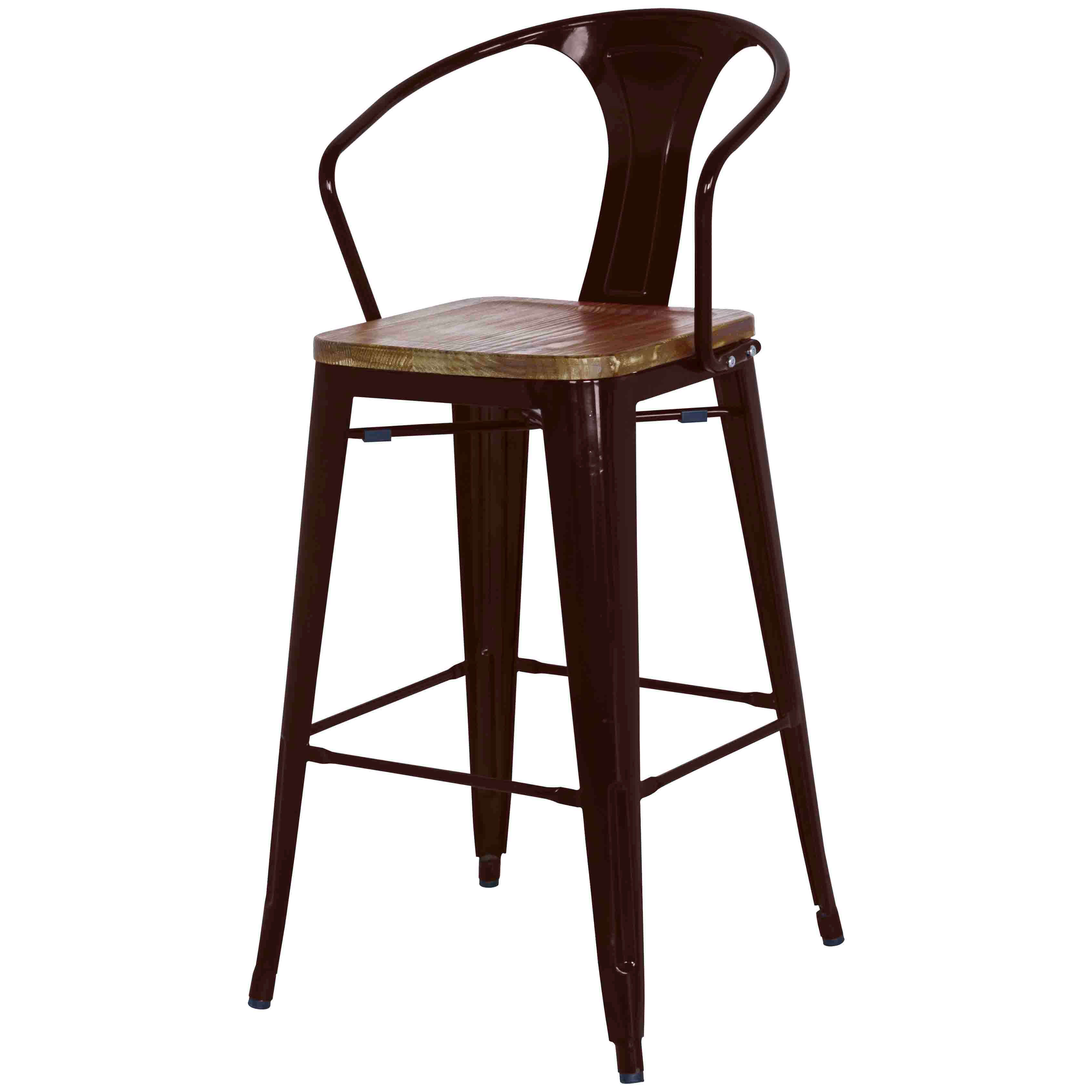 Metropolis Metal Bar Stool Wood Seat Black Set Of 4 Online At Best Price Sod