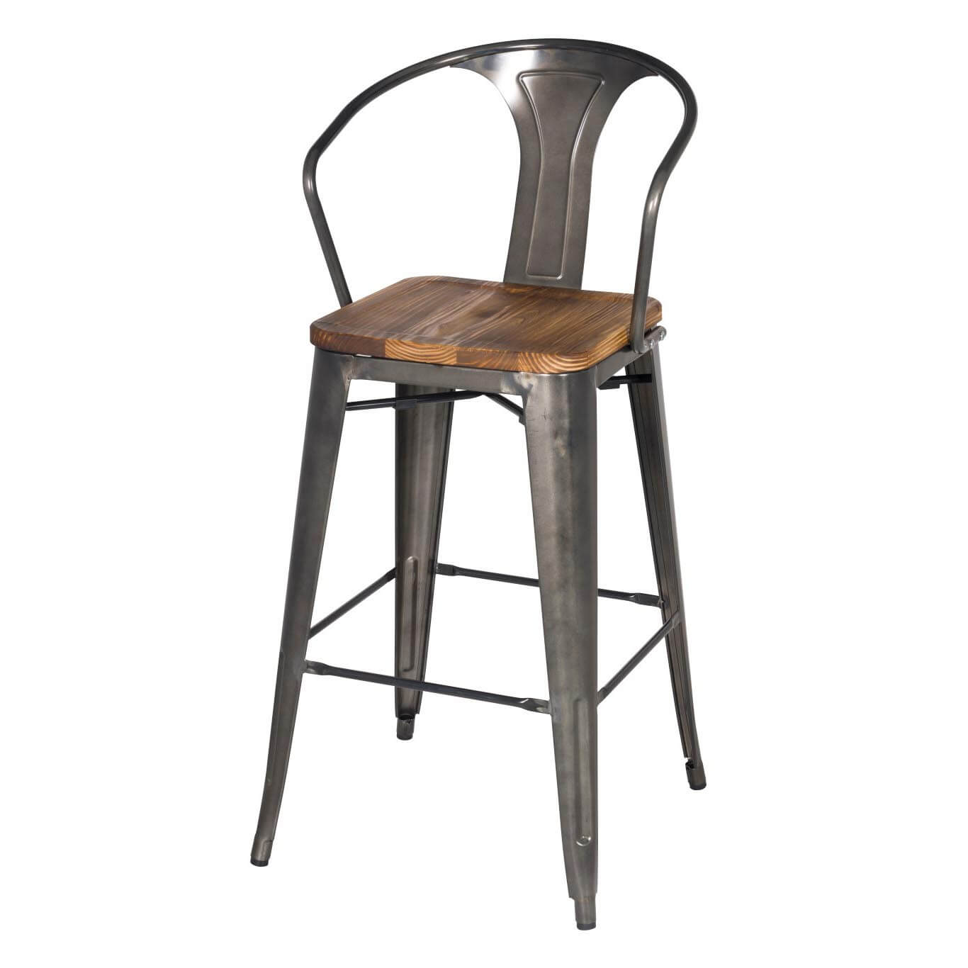 gunmetal - Metal Bar Stools With Backs