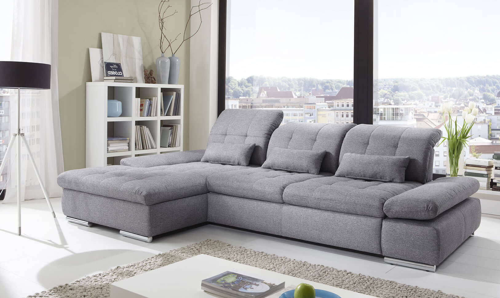 Alpine Sectional Sleeper Sofa Left Arm Chaise Facing Black  ~ One Arm Sofa With Chaise