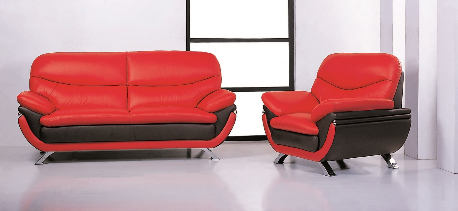 ✅ Jonus Top Grain Leather Match Living Room Set, Red/Black by ...