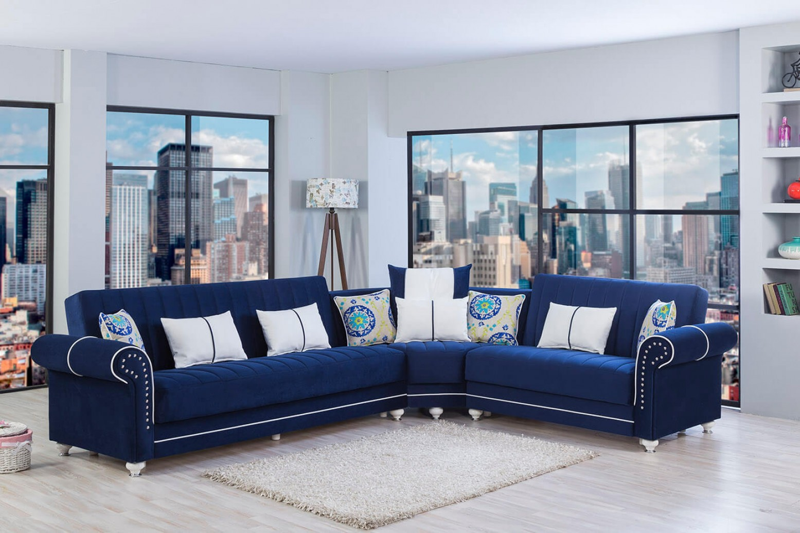 Royal Home Sectional Sofa Riva Dark Blue By Casamode