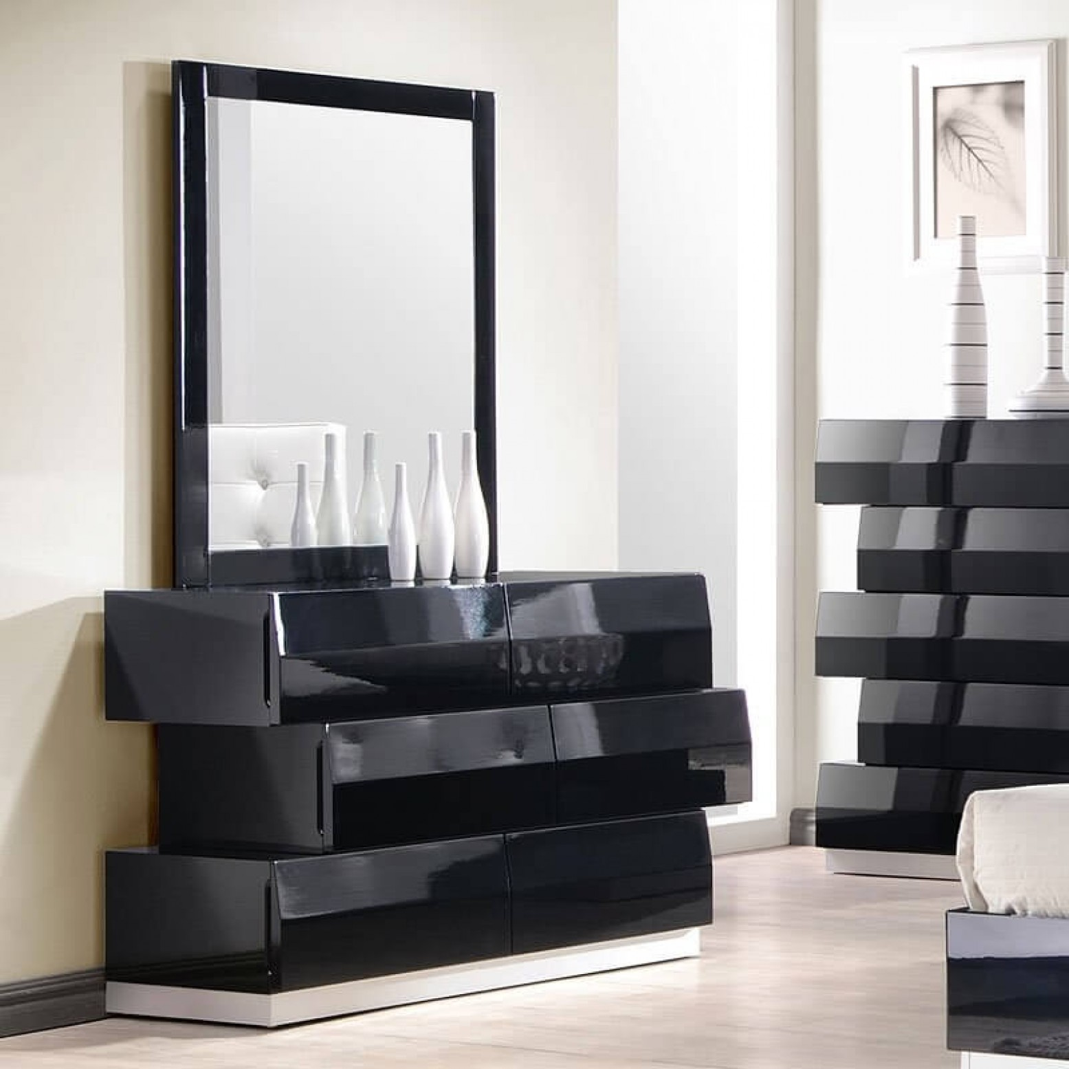 ✅ Milan Modern Lacquer Dresser with Mirror, Black Lacquer by J&M ...