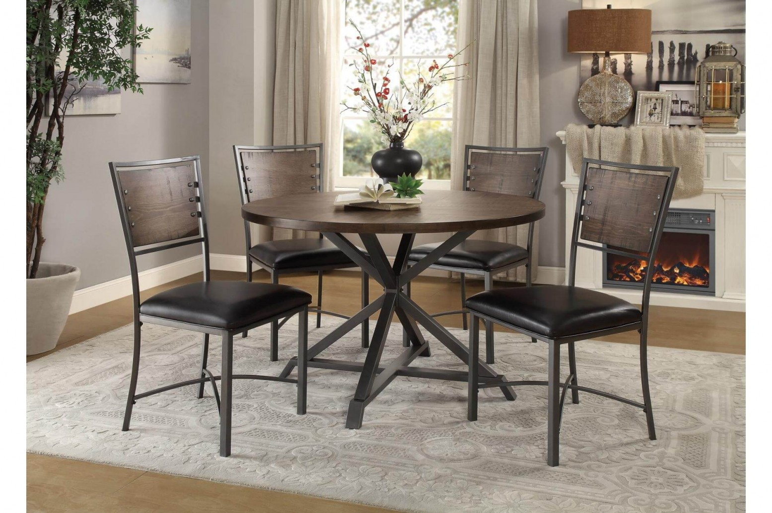Fideo Rustic Industrial Dining Room Set