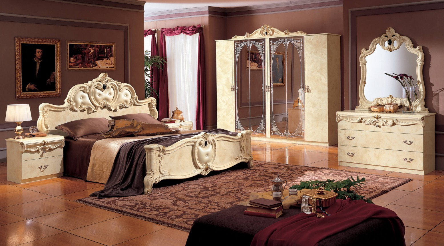 Barocco Leather/Wood Panel Bedroom Set, Ivory by ...