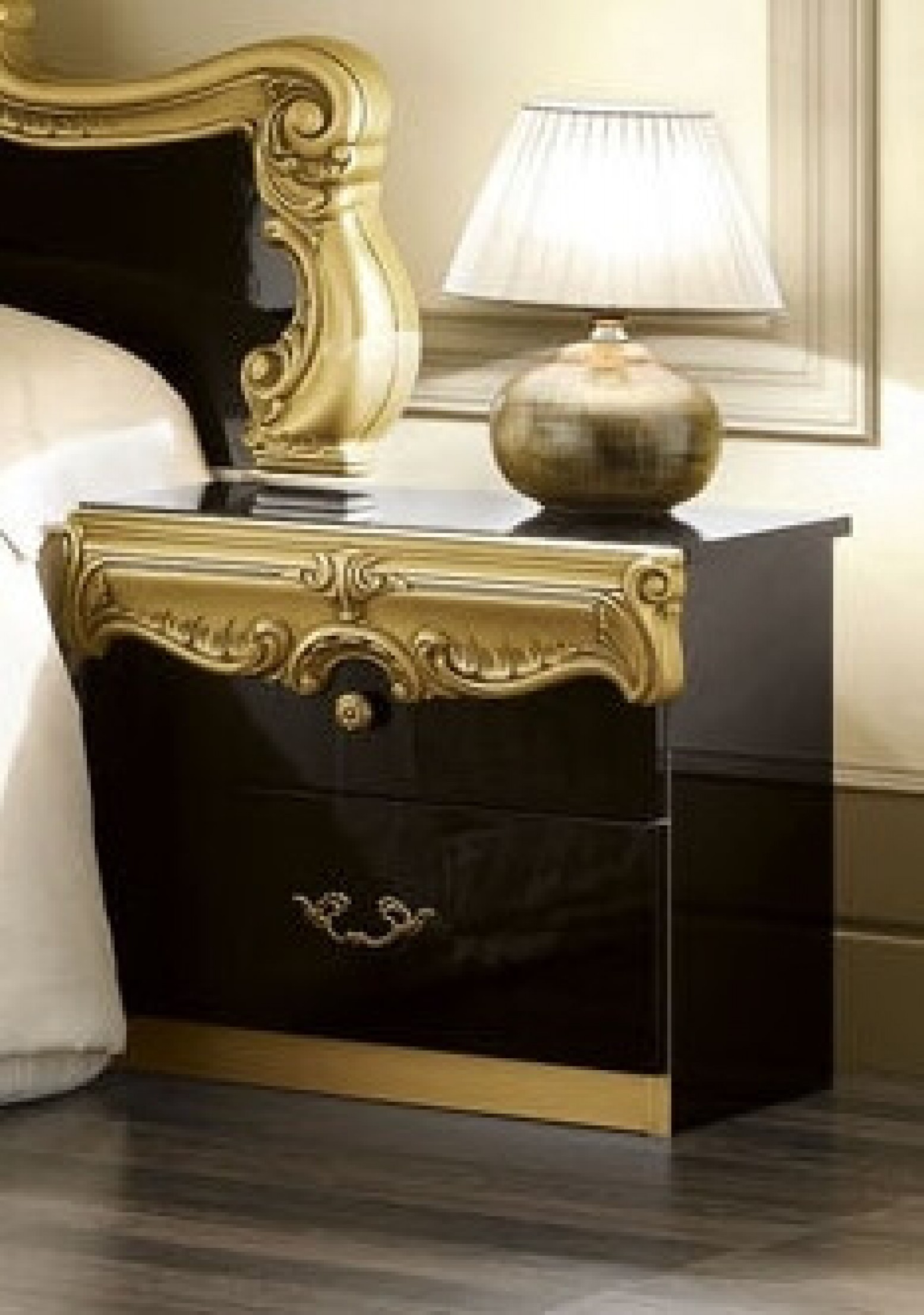 Barocco Wood Nightstand Black Gold By Camelgroup Italy Sohomod Com