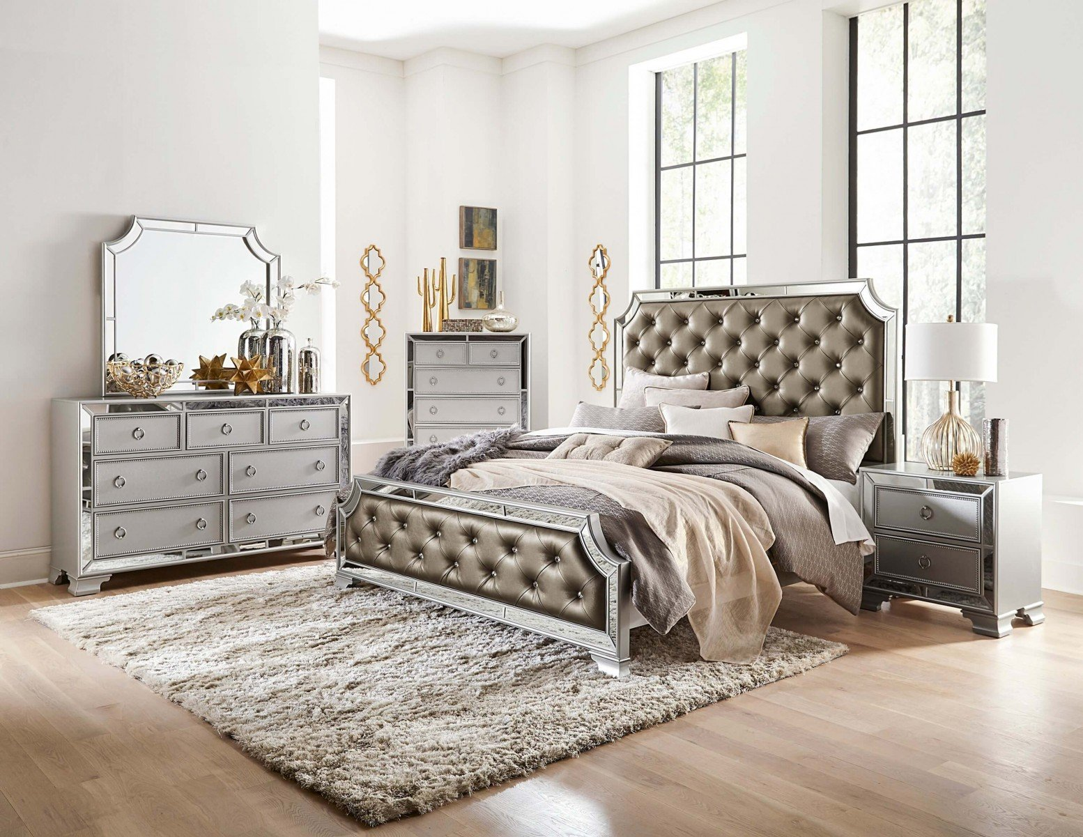 Avondale Vinyl Mirror Tufted Panel Bedroom Set Sohomod Com