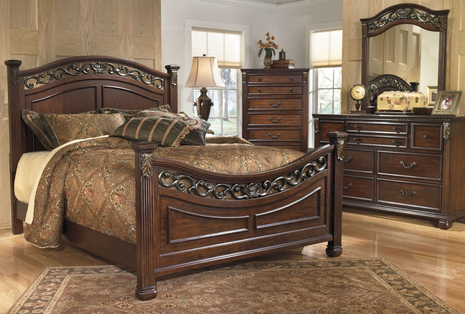 Ashley Sm Leahlyn Wood Panel Bedroom Set Warm Brown Sohomod Com