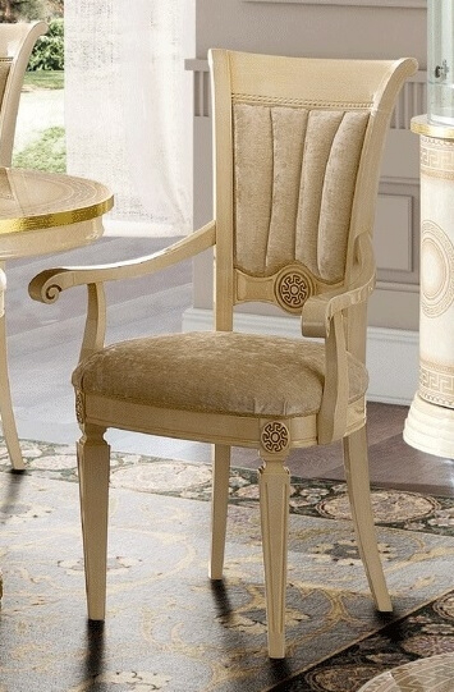 Aida Dining Arm Chair, Ivory/Beige by Camelgroup, Italy ...