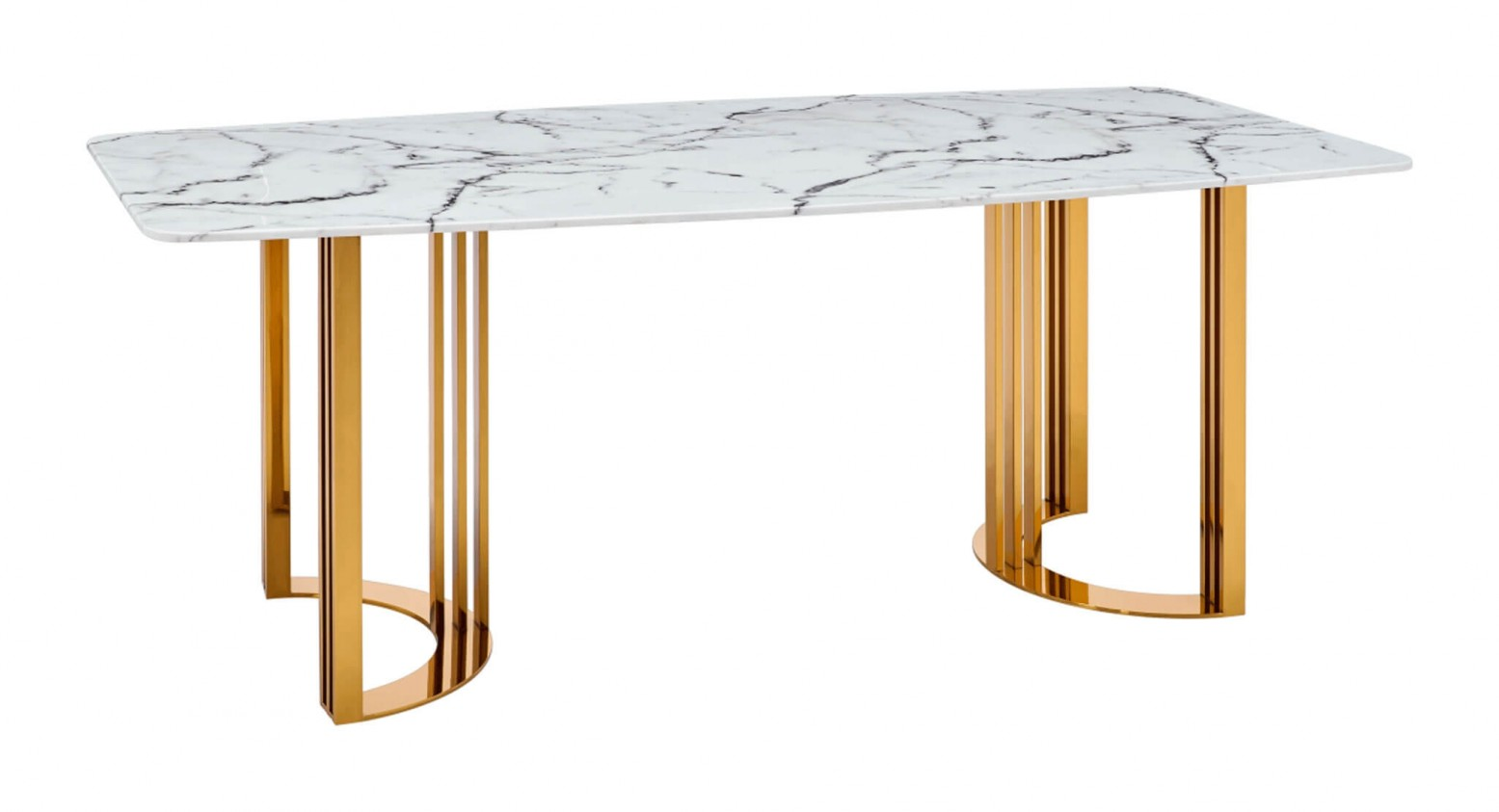 131 Modern Rectangular Marble Dining Table White Gold By Esf Furniture Sohomod Com