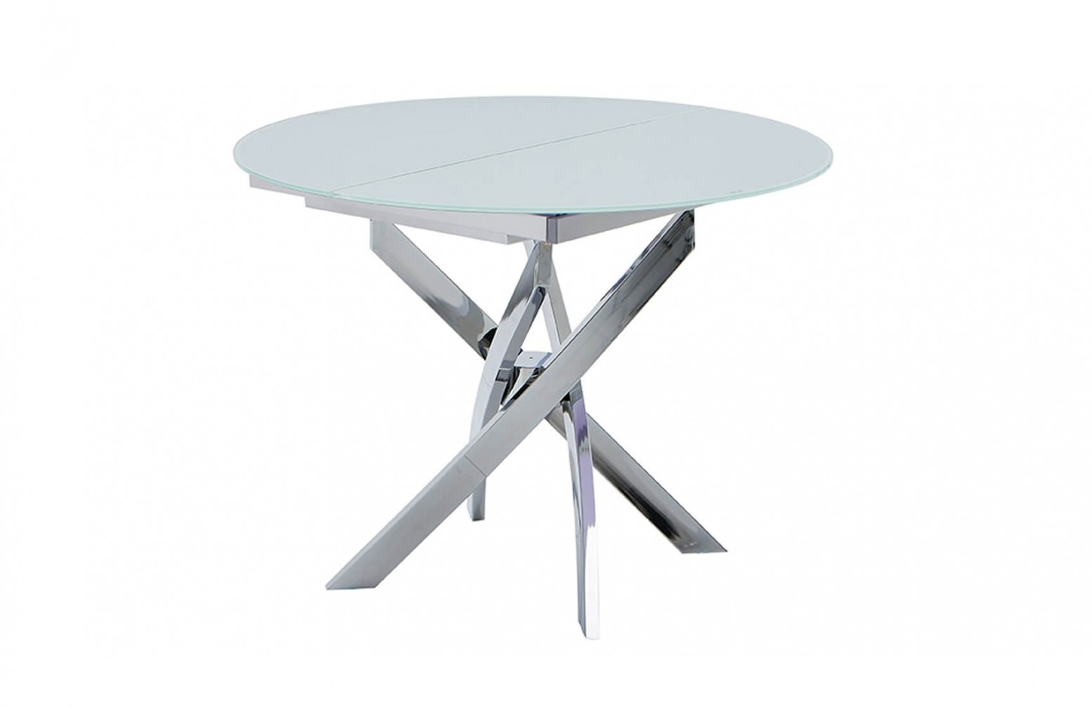 2303 Modern Round Glass Extendable Dining Table White Chrome By Esf Furniture Sohomod Com