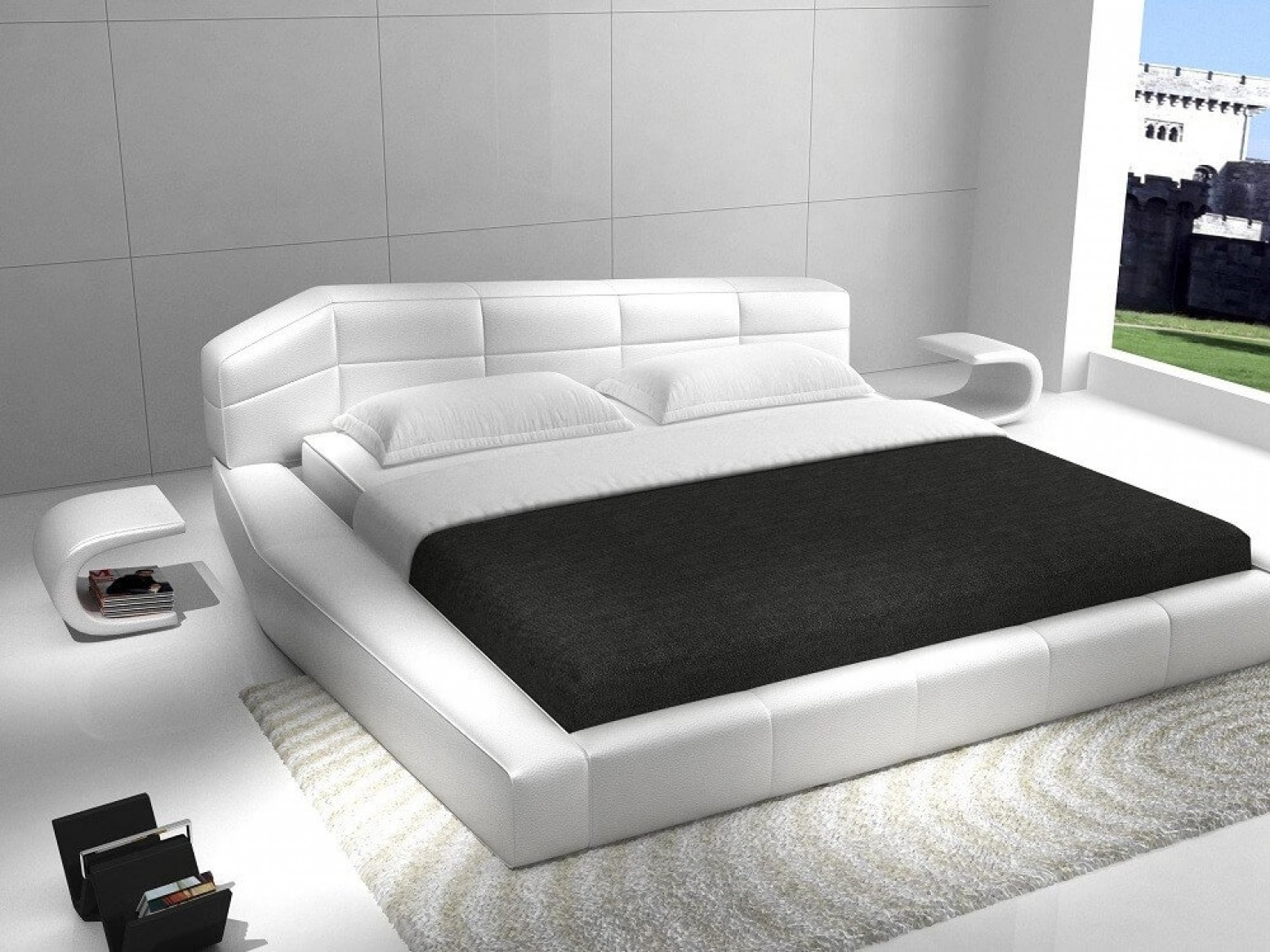 Picture of: Dream Modern Leather King Size Platform Bed White By J M Furniture Sohomod Com