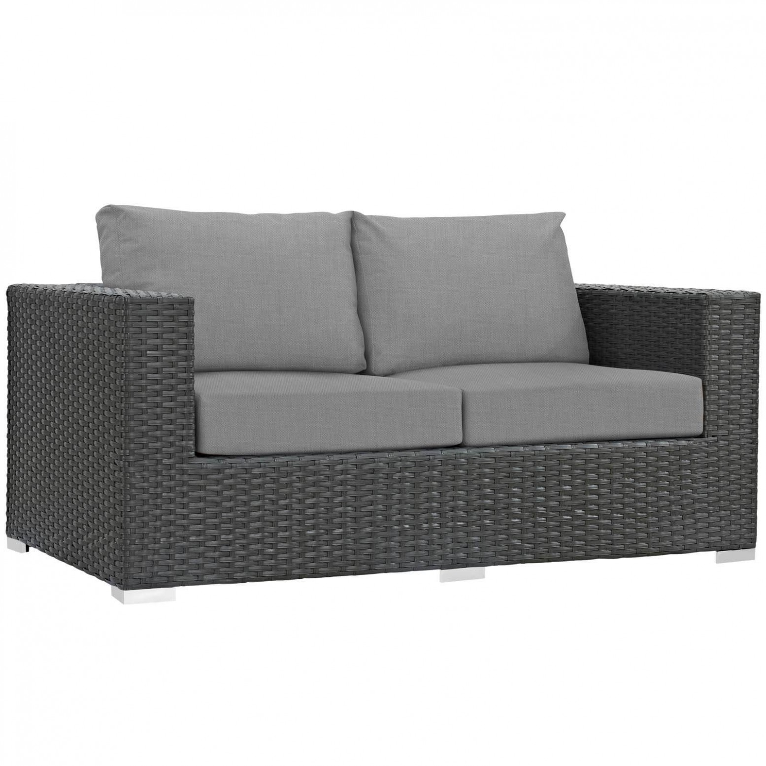 Sojourn Sunbrella Synthetic Rattan Weave Outdoor Patio Loveseat By Modway Furniture Sohomod Com