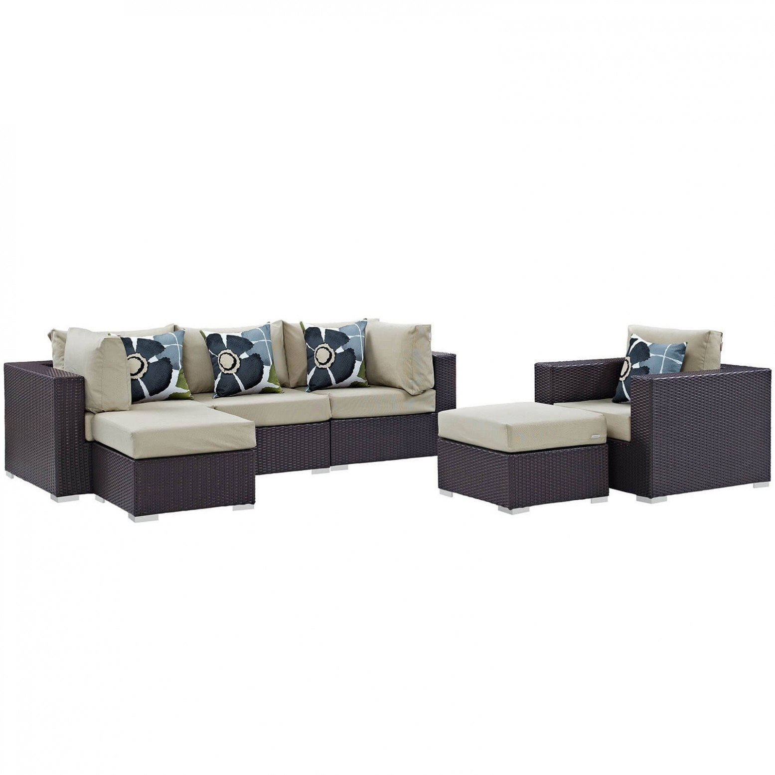 6 Piece Outdoor Patio Sectional Set