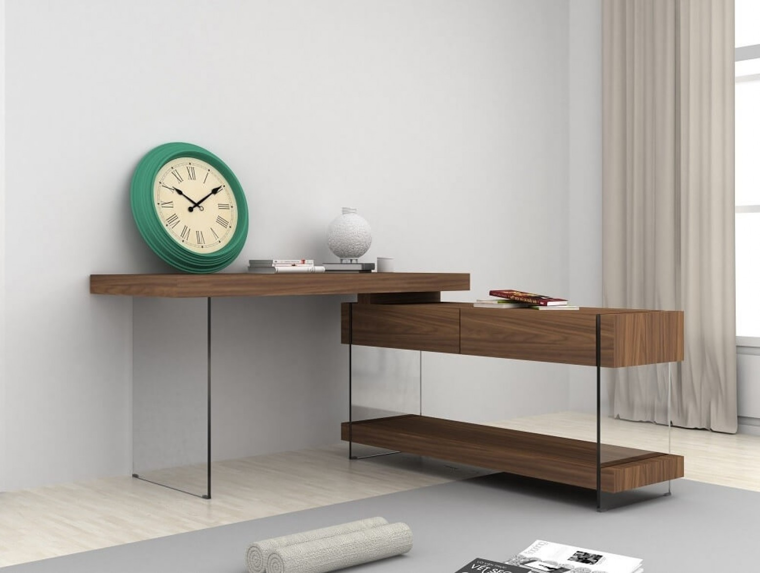... Elm Modern Office Desk With Storage Drawers For Sale ...