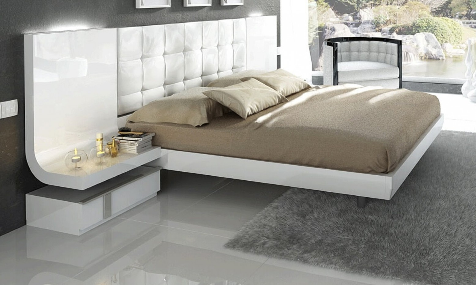Granada Wood Tufted Storage Bed W Lights Queen Size By Fenicia Mobiliario Spain Sohomod Com