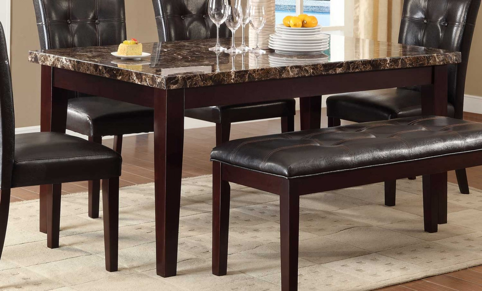 Teague Classic Rectangular Faux Marble Dining Table Espresso By Homelegance Sohomod Com