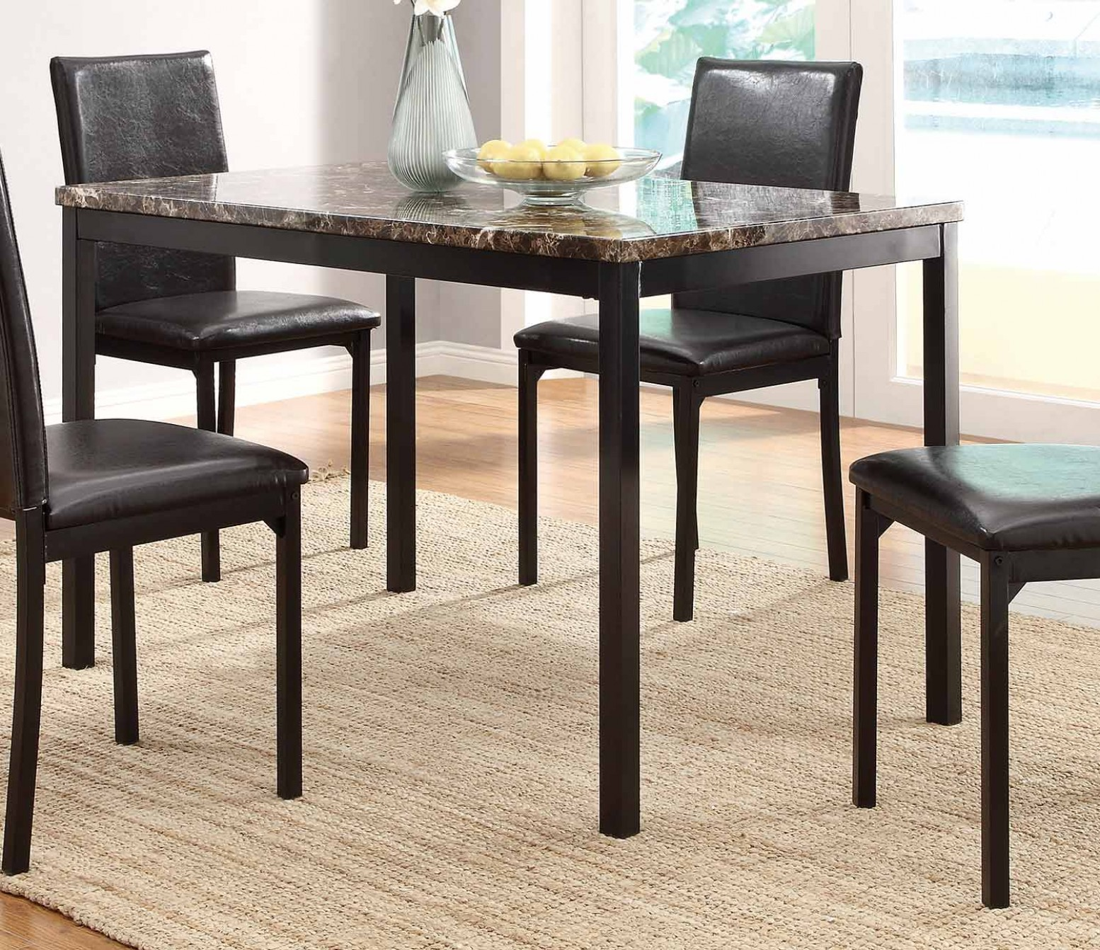 Tempe Classic Rectangular Faux Marble Metal Dining Table Dark Brown Black By Homelegance Sohomod Com