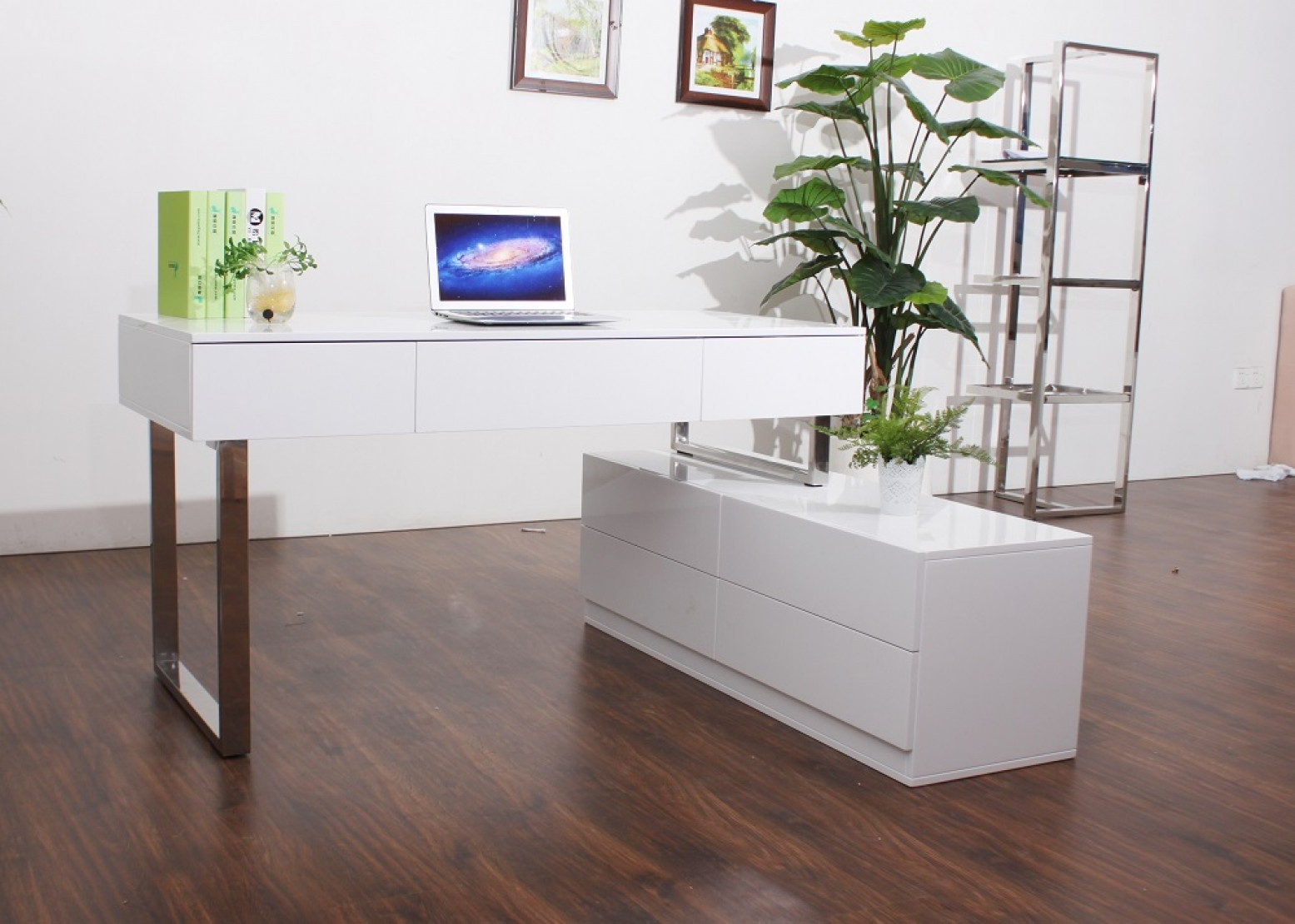 KD12 Modern Lacquer Office Desk with Storage Drawers