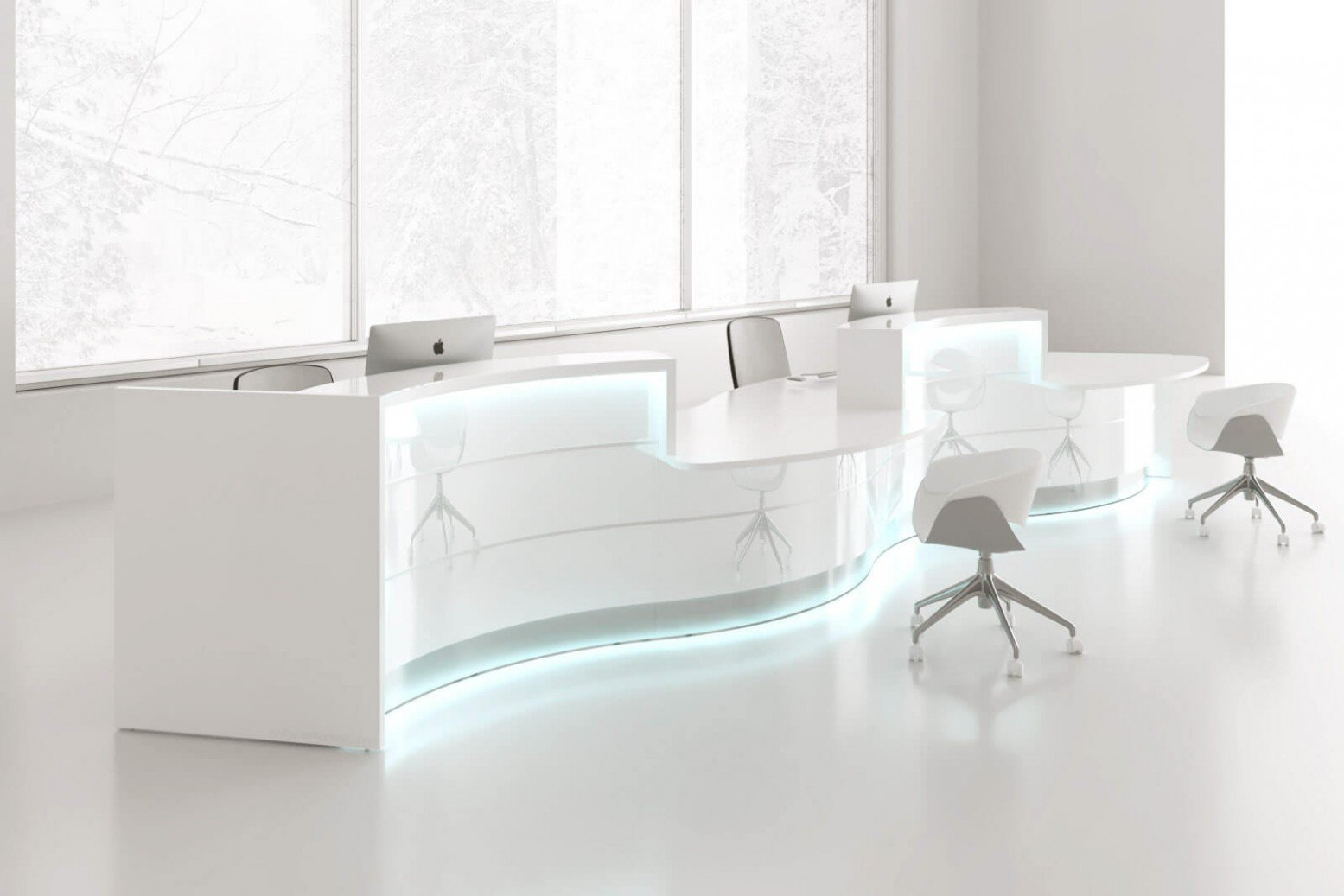 Valde Right 2 Countertops Curved Large Reception Desk