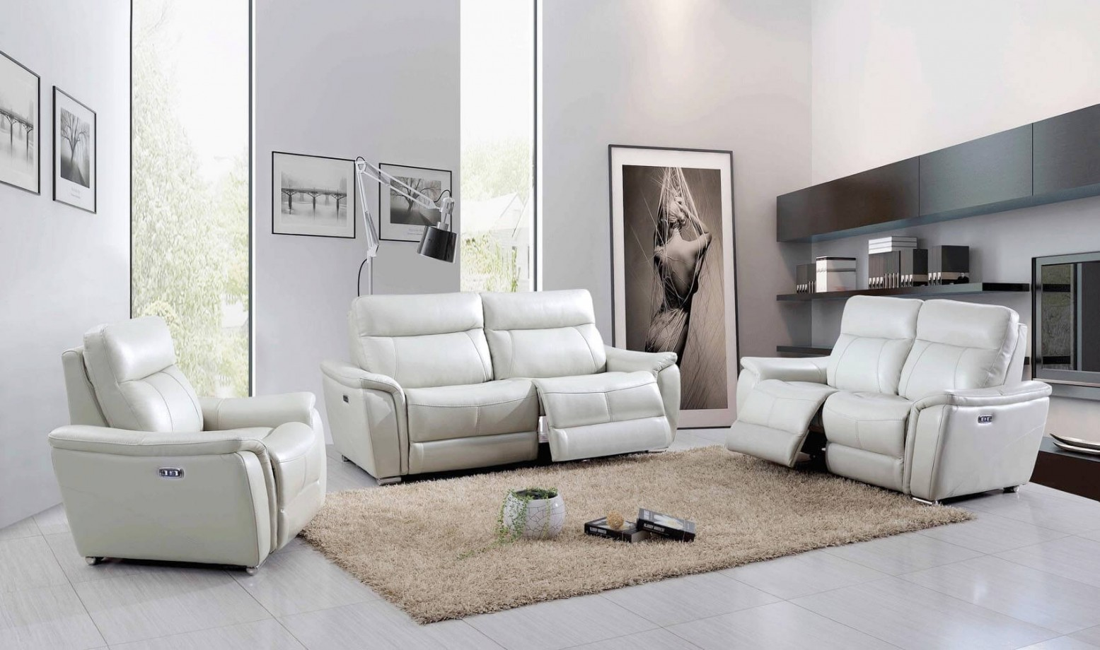 1705 Leather Eco Leather Living Room Set W Recliner By Esf