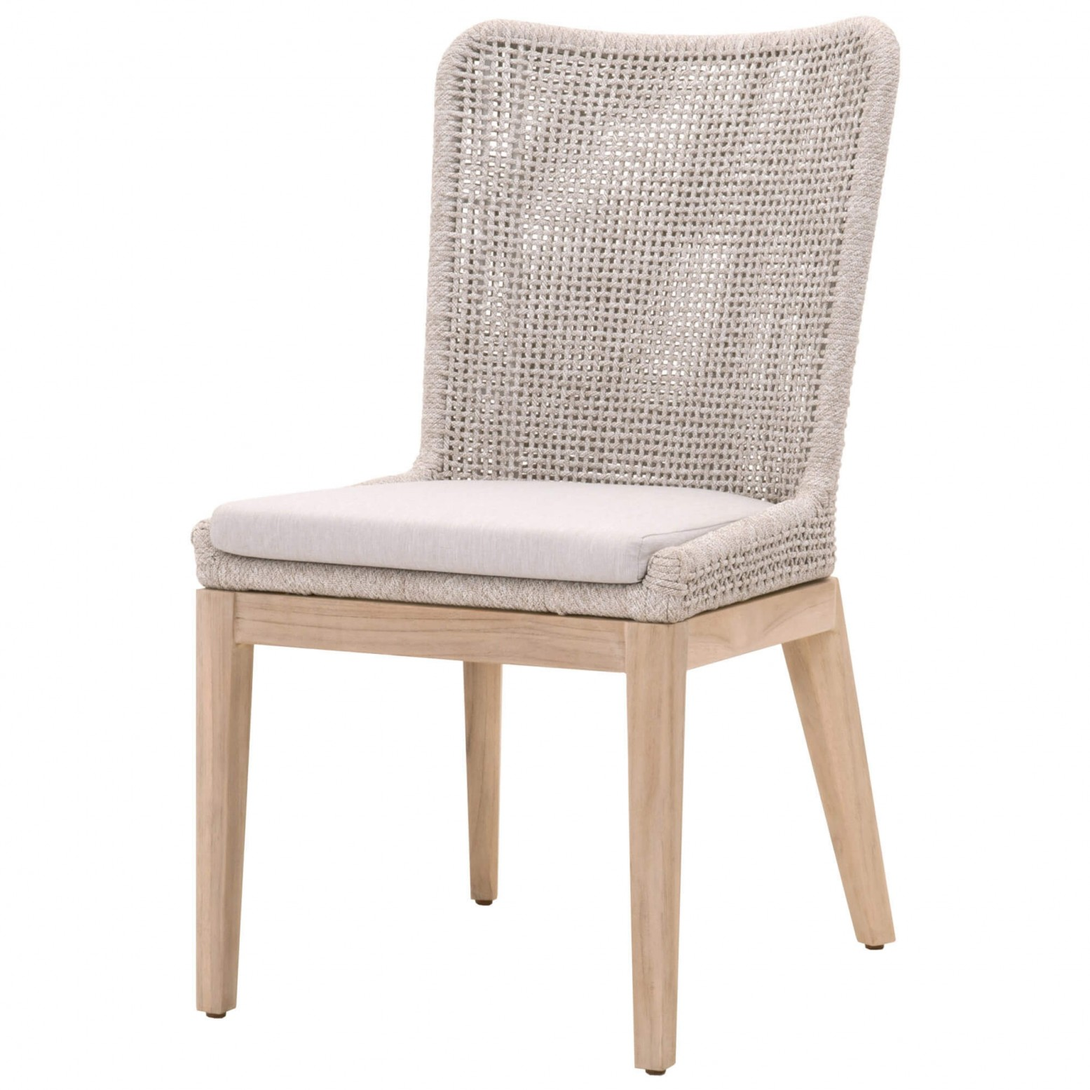 Mesh Outdoor Dining Chair Taupe White Gray Teak By Essentials For Living Sohomod Com