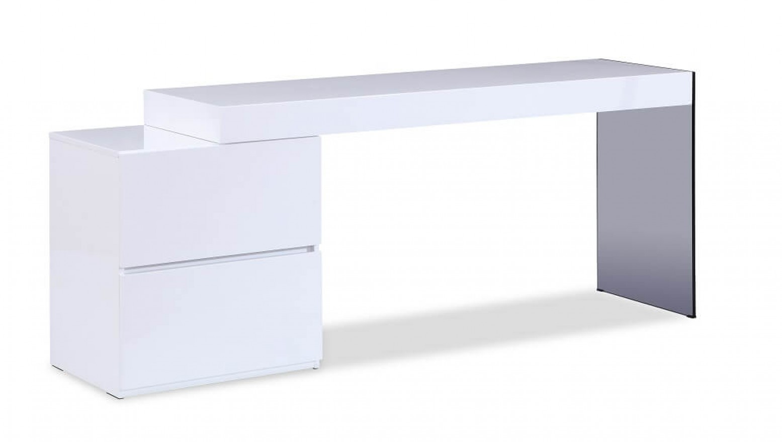 Mia Modern Glass Office Desk with Storage Drawers