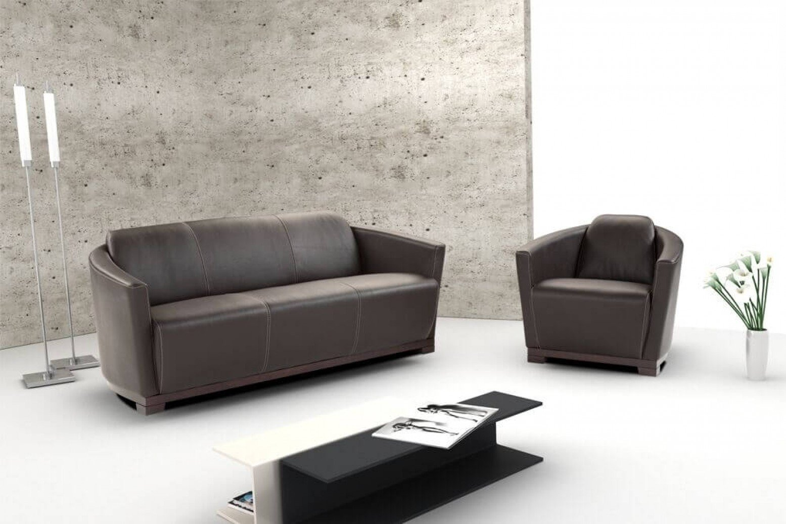Hotel Italian Leather Sofa Set