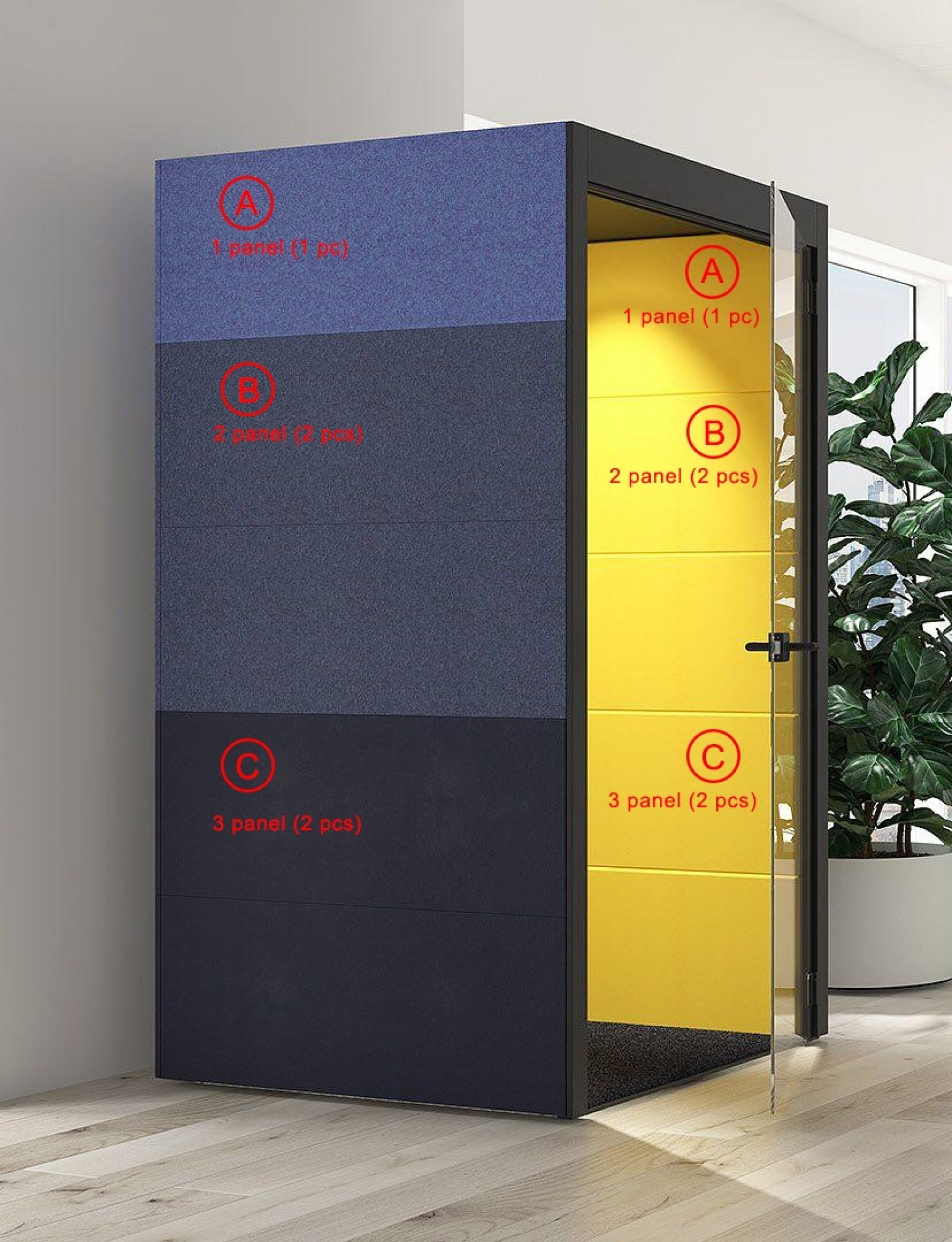 L Silent Room With Fabric External Walls Glass Door By