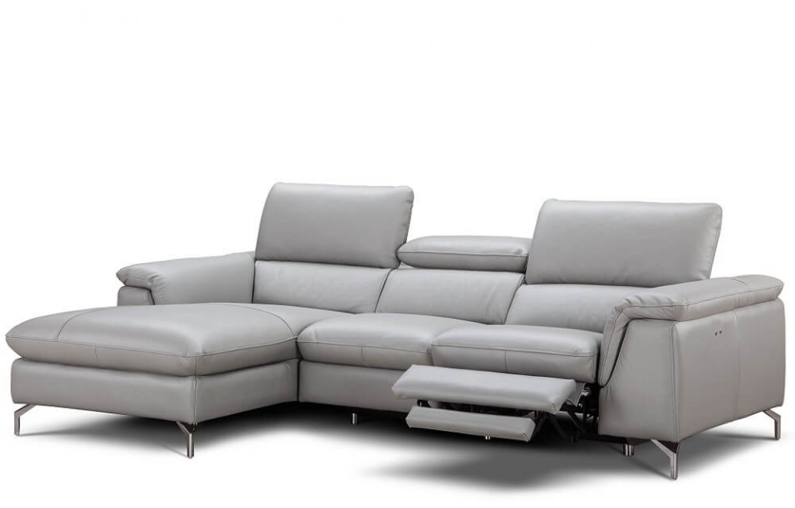 Picture of: Serena Premium Reclining Leather Sectional Light Grey By J M Furniture Sohomod Com