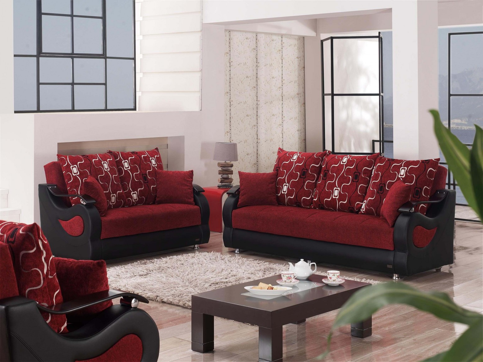 ✅ Pittsburgh Fabric/Vinyl/Wood Storage Living Room Set | Sohomod.com