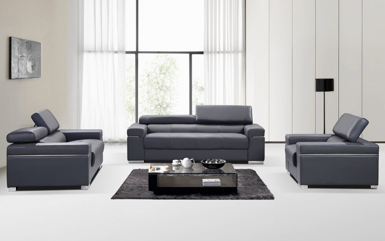 Soho Leather Sofa Set By J M Furniture