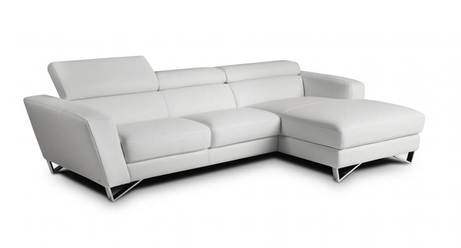 Sparta Mini Italian Leather Sectional Grey White By J M Furniture Sohomod Com