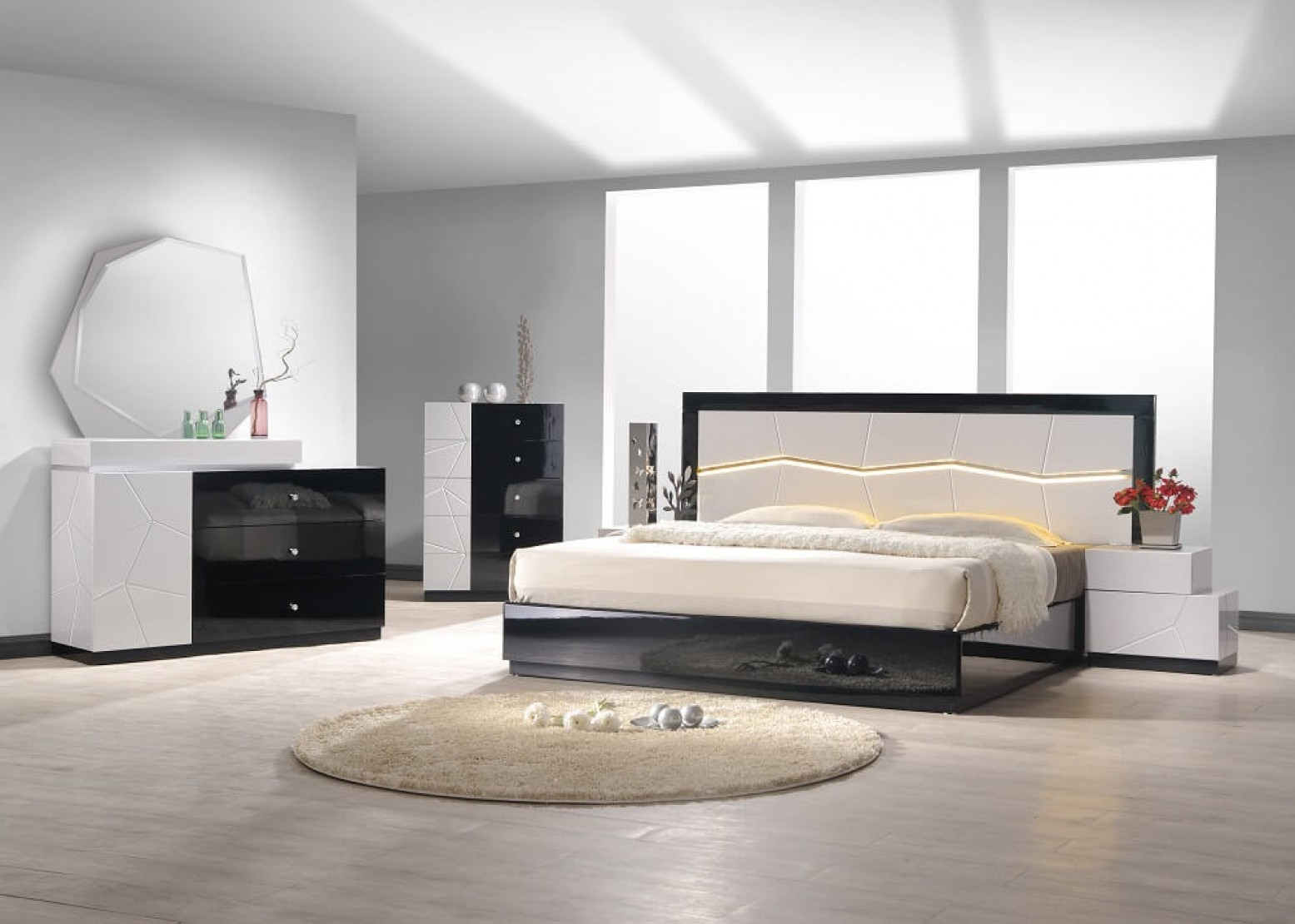 Turin Modern Lacquer LED Panel Bedroom Set