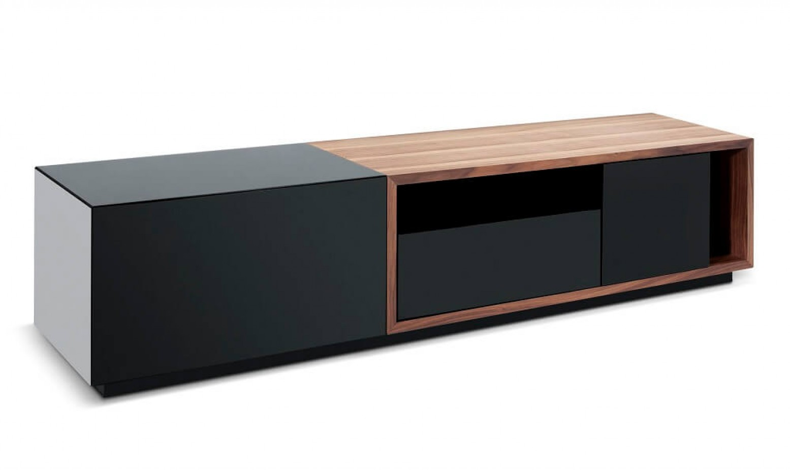 Tv047 modern tv stand for tvs up to 74 black high gloss - Walnut and black gloss living room furniture ...