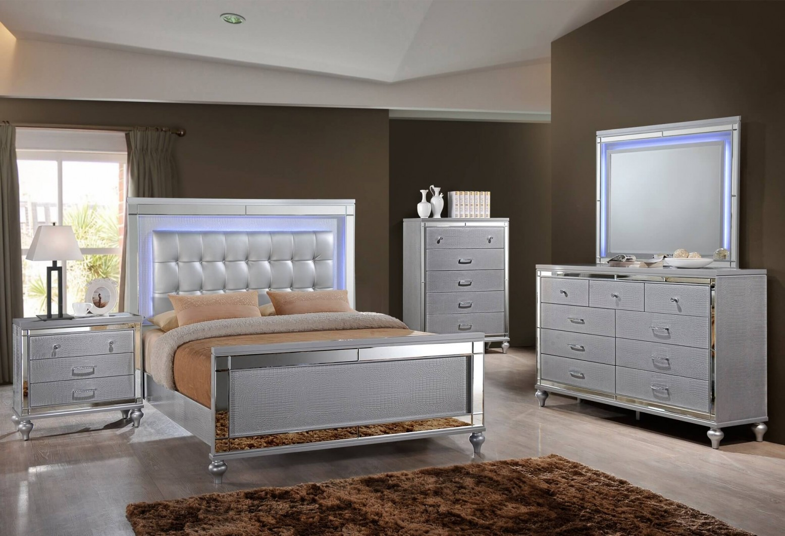 New Classic SM Valentino Tufted LED Panel Bedroom Set