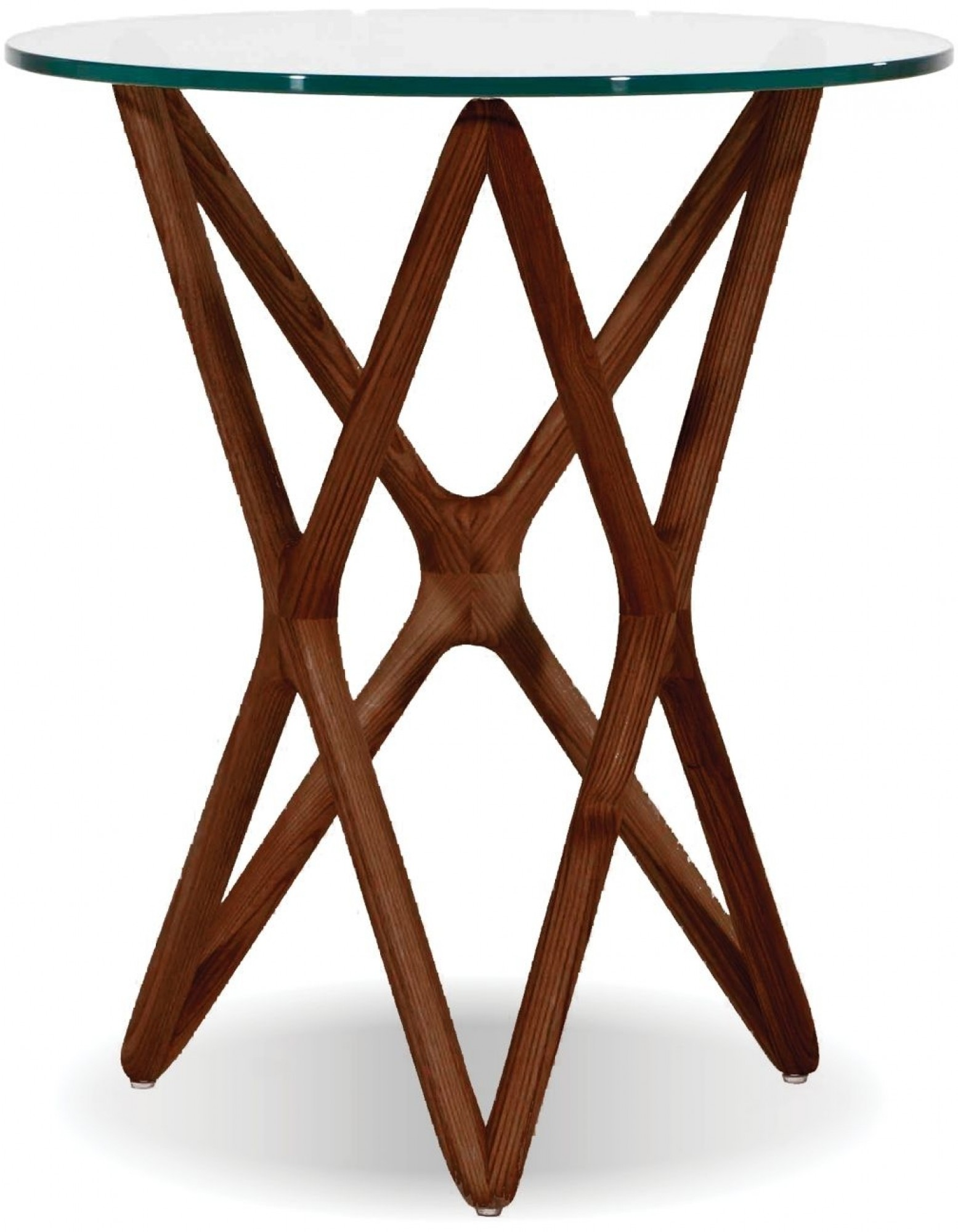 Quasar Clear Glass Top End Table Tall Light Walnut By Mobital Sohomod Com