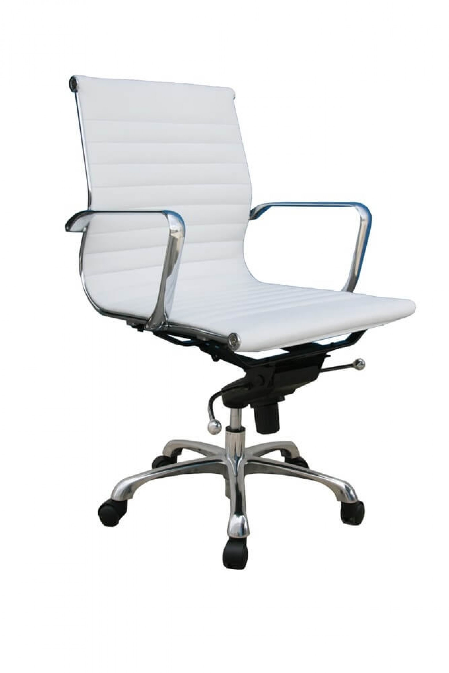 Comfy Low Back Adjustable Leather Swivel Office Chair By J